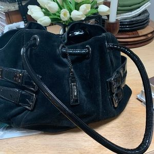 Suede and patent leather satchel handbag